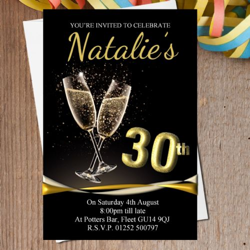 10 Personalised Black & Gold Champagne Birthday Party Invitations N196 - Any age